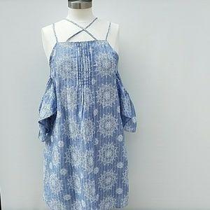 Blue Pepper Chambray Embroidered Cold Shlder Dress